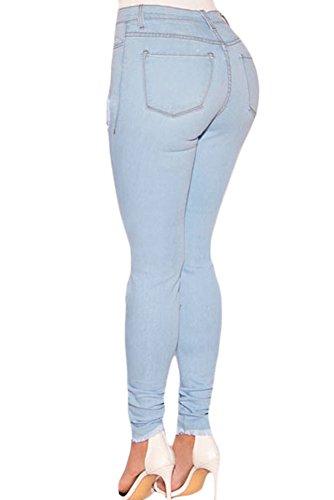shelovesclothing Damen Jeanshose blau hellblau Hellblau