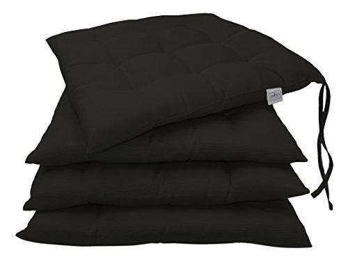 """ZOLLNER® 4er-Set Stuhlkissen / Sitzkissen für drinnen und draußen, schwarz Größe ca. 40x40 cm, in verschiedenen Farben erhältlich, vom Hotelwäschehersteller, Serie """"Mali"""""""