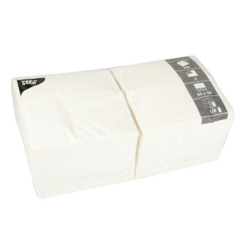 Tissueservietten weiß (250 Stück) 33 x 33 cm, dreilagig, 1/8-Falz, ideal geeignet für Gastronomie, Haushalt oder Feste, FSC-zertifiziertes Material, #14234 (Weiße Servietten)