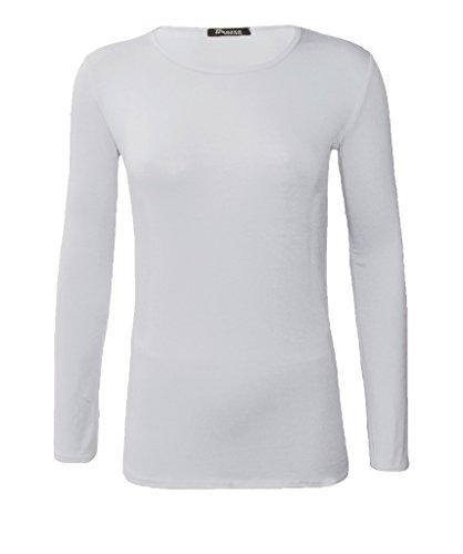 Funky boutique lignes body manches longues pour femme avec rundausschnitt 36–50 eU Weiß