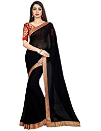 Anand Sarees Chiffon Solid Plain Saree With Lace Border And Unstitched Red Color Jacquard Blouse Piece 1470