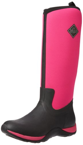 Muck Boots Arctic Adventure, Damen Stiefel, Schwarz - Black (Black/Hot Pink), 39/40 EU (6 UK) (Hot Pink Schwarz)
