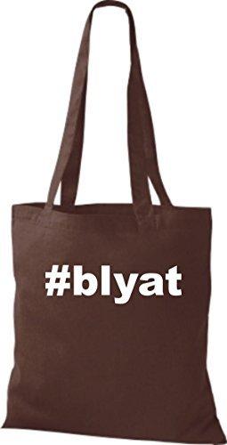 shirtstown Borsa di stoffa hashtag # blyat Marrone