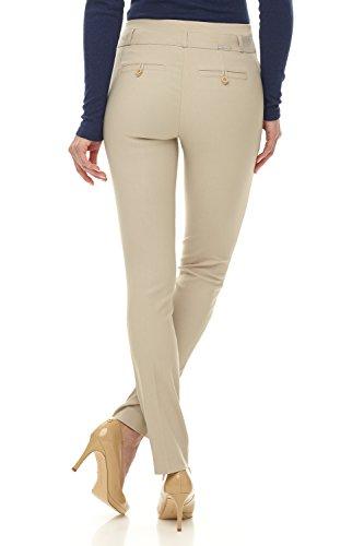 Rekucci Damen Seien Sie in Komfort bekleidet schlanke Stretch-Hose Stein