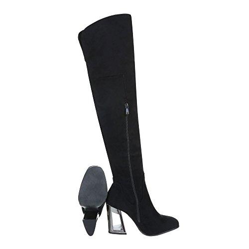 Overknees Scarpe Da Donna Overknees Pompa Tacchi Alti Zipper Ital-design Stivali Neri
