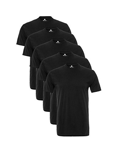 Lower East Herren T-Shirt mit Rundhalsausschnitt, 5er Pack, Gr. X-Large, Schwarz - Schwarz Kurze Ärmel T-shirt