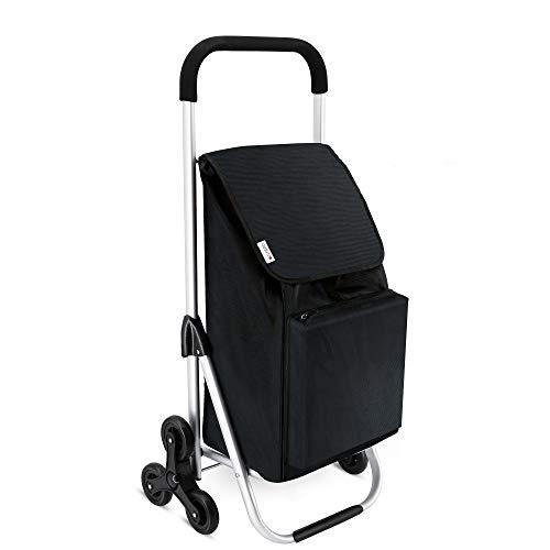 LONARI Trolley per la spesa con gradini e borsa per la spesa da 47 litri con scomparto refrigerante integrato colore nero