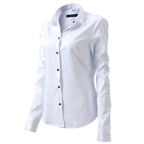 Harrms Camicia Blusa Elastica di bambù Fibra per Donna, Manica Lunga, Slim Fit, Camicia Elastica Casual/Formale, Bianco, 38 (Collo 38CM, Manica 64.5CM)