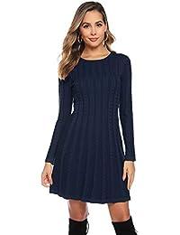 Hawiton Damen Strickkleid Elegante Pulloverkleid mit Zopfmuster A-Linie Langärmeliges Kleid Strickpullover für Winter