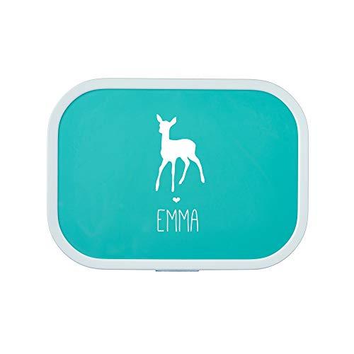 4you Design Personalisierte Brotdose REH Silhouette   Mepal Campus + Bento Box & Gabel - Schule - Kinder - Trenneinsatz - 6 Farben (Türkis)