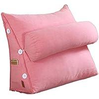 BEAUTY Almohada Sofá Respaldo Respaldo Cojín Almohada Triángulo Grande Cabecera de algodón Suave Oficina Lumbar Respaldo Cojín Respaldo Almohada (Color : Pink, Tamaño : 45X50X22CM)
