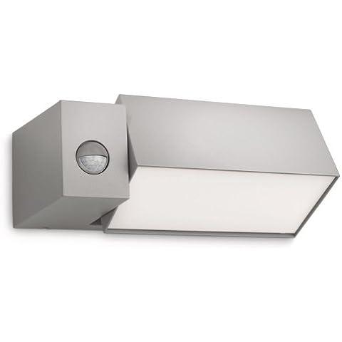 Philips Border Lampada da Parete per Esterno, Faro Regolabile, Alluminio Grigio e Sintetico, Lampadina RE 23 W Inclusa