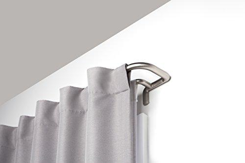 Umbra Twilight Doppelte Gardinenstange – Ausziehbare Vorhangstange mit Abgerundeten Enden für Ideale Raumabdunkelung, 71-122 cm, Nickel (Hintere Isolierung)