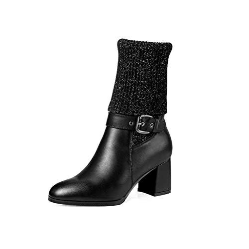 ChixiaO Winter Leder High Heel Stiefel Damen dick mit Wolle Mund Martin Stiefel Plus samt warme dünne Stiefel grün schwarz High Heels (Farbe : SCHWARZ, größe : 39)
