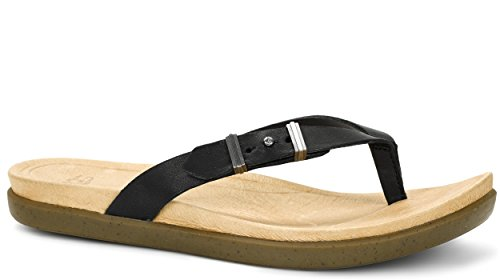 UGG Collection Sela Cuir Tongs Black