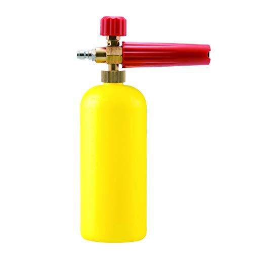 CUHAWUDBA Schnee Schaum Lanze Auto Wasch Schaum Kanone für Karcher K(K2-K7) Serie Einstellbarer Druck Auto Sch?umer Wasch Lanze mit 1/4 Zoll Schnell Kupplung,Gelbe Flasche+Rot Griff (Kupfer-garten-anteile)