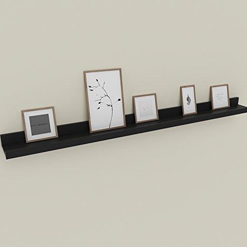 Modrine Bilderrahmenleisten schweberegal 60x9cm(LxB)/120x9cm(LxB)Wand Regal Galerieboard Wandboard schwarz/ weiß erfüllt vielen Zwecken Deko Wohnaccessoires (schwarz,...