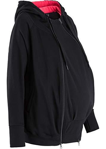 Umstands-Sweatjacke Schwangere Sweatshirtjacke mit Babytasche schwarz (40/42)