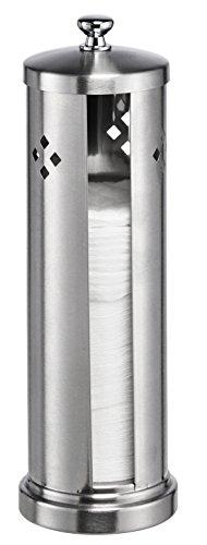 Bambelaa! Wattepadbox Watte-Pad-Spender Silber Edelstahl mit Deckel 7 x 14cm silber 1 Stück