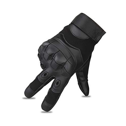 Motorradhandschuhe Winter Taktische Leder Handschuhe Vollfinger Handschuhe für Motorrad Fahrrad (L, Schwarz)