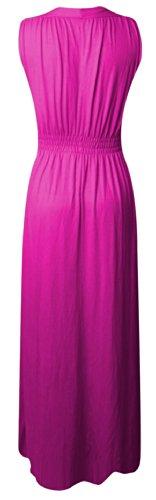 Top Fashion Damen Frauen Spring Coil Lange Jersey Stretch Maxikleid Größe 36-42 Rosa