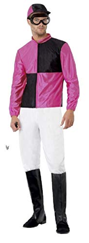 Mens Pink Jockey Uniform Sports Stag Do Horse Racing Grand National Ascot Fancy Dress Costume Outfit M-L - Horse Racing Kostüm