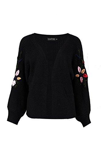 Noir Femmes Thea Puffed Sleeve Embroidery Cardigan Noir
