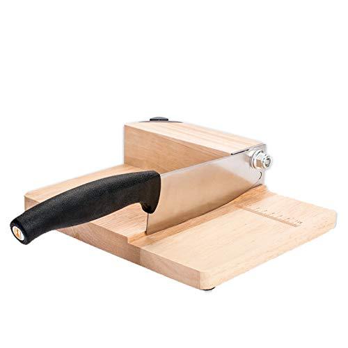 ANHPI,Haushalt Manuelle Kleine Slicer Eiche Holz Gehäuse, Edelstahl-Locking-Mechanismus Mit Hartmetall-Schleifstein,Woodcolor