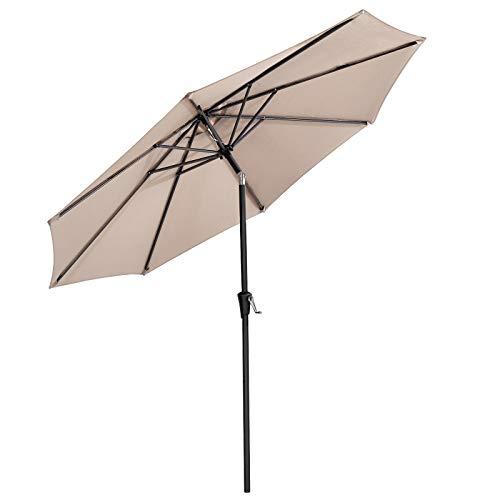 SONGMICS Sonnenschirm, Marktschirm, achteckig, knickbarer Gartenschirm mit Kurbel, Ø 3 m, ohne Ständer, Polyestertuch, für Außenbereich, Terrasse, Garten, Balkon Taupe GPU30BR