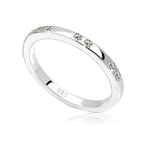 Elli Damen-Bandring 925 Sterling Silber Swarovski Kristall grau Brillantschliff