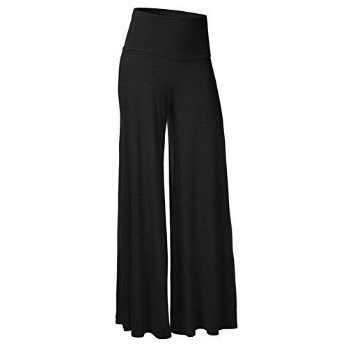 iShine Casual Hosenrock Damen Lang elegant Palazzo Hosen Wide Leg Pants Lagenlook Hosen Lagen Hose mit leichte elastische-BK-2XL