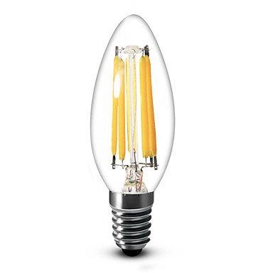 FDH 1 pcs SML E14 / E12 4 / 6 W 6 COB 600 LM BLANCO CÁLIDO, Blanco frío / C35 regulable bombillas de vela CA 220-240/110-130 V CA