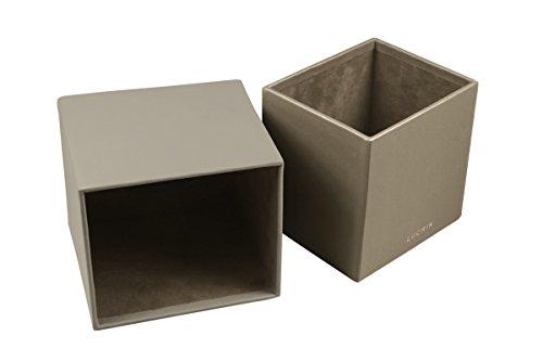 Lucrin - Quadratischer Kosmetiktuchbehälter - Weiss - Glattleder Hellbraun