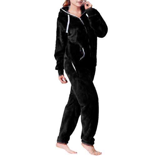 Farbe Bequemer gebürsteter Plüsch-Verdickungsreißverschluss Kuscheliger Jumpsuit Sweat Overall Ganzkörperanzug ()