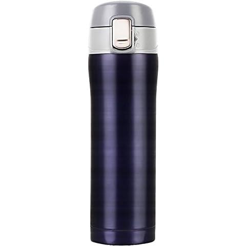Termo de café, LOMATEE termo de viaje antigoteo doble pared de acero inoxidable sin BPA 420ml con tapa hermética, azul