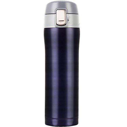 LOMATEE Thermobecher aus Edelstahl Isolierbecher Auslaufsicher Kaffebecher Reisebecher BPA frei Einhand-Verschluss 420ml Kaffee Travel Mug Gold