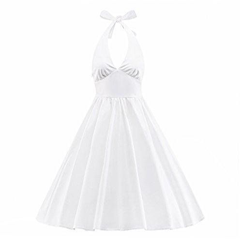 ILover Frauen-Weinlese 1950 Marilyn Monroe Rockabilly großen (Kleid Monroe Weißes Marilyn)