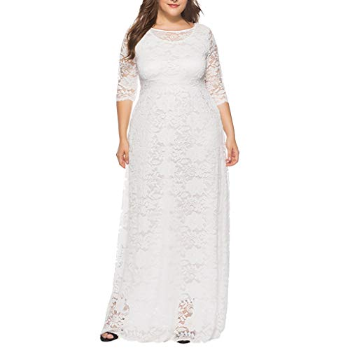 Geilisungren Damen Elegant Blumen Spitzenkleid Sexy 1/2 Arm O-Ausschnitt Hohe Taille Slim Fit...