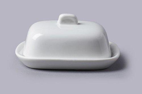 CKS Beurrier - Mini avec Couvercle (10x8x4cm) - Céramique Blanche