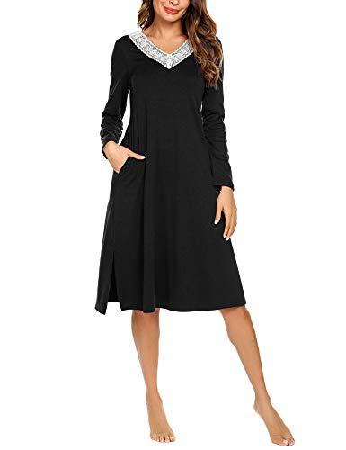 ADOME Damen Lang Nachthemd Langarm Sleepwear Spize am V-Ausschnitt Nachtkleid Still A-Linie Schlafkleid Casual Nachtwäsche Baumwolle Herbst Unterkleid -
