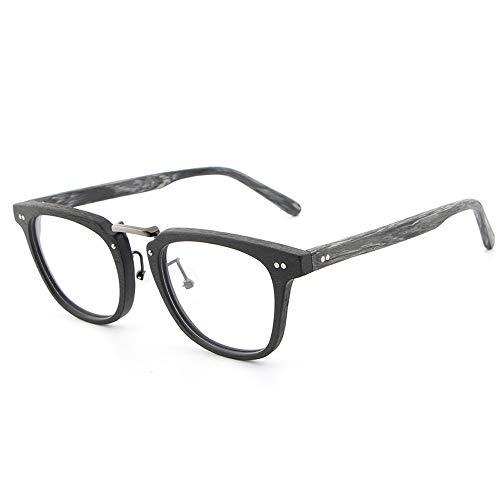 Easy Go Shopping Frame Classic Retro Fashion Brillen Frame Plain Brillen Holzmaserung Kurzsichtige Brillen Sonnenbrillen und Flacher Spiegel (Color : 02 schwarz, Size : Kostenlos)