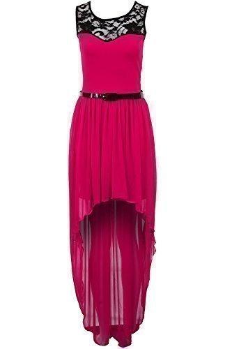 Saphir Femmes Lacets Ivoire Rouge Noir Haut Bas Maxi Mousseline Queue Robe Pour Femmes Magenta