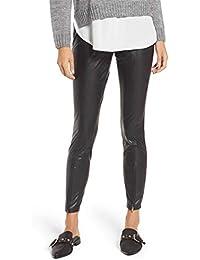 cec97c74016 HUE Women s Zip Hem Faux Leather Leggings Black Size Large