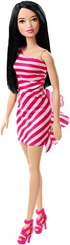 Barbie Doll, Wearing Glitzy Pink and White Striped Party Dress