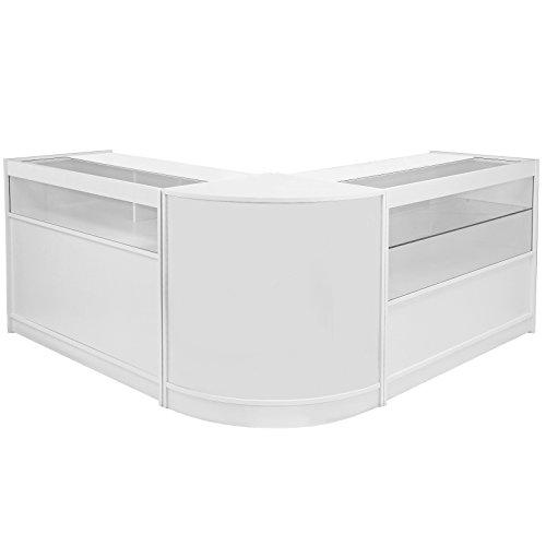 MonsterShop - Set Glacier con 3 Mostradores para Tienda y Recepción Blanco Lila Elegante No Blanco Puro