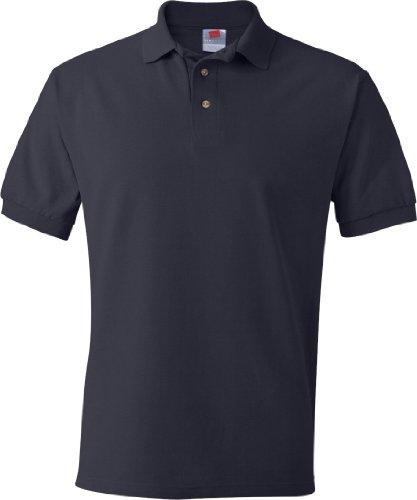 Hanes Herren Baumwolle Poly Welt Kragen und Manschetten Short Sleeve Pique Polo Shirt Dunkles Marineblau
