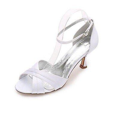 Wuyulunbi@ Scarpe donna seta Primavera Estate della pompa base Wedding scarpe tacco basso Peep toe fibbia per la festa di nozze & Sera Bianco Blu Scuro Rosso Bianco