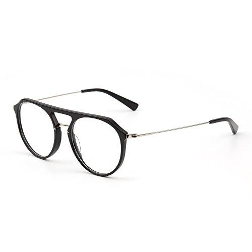 JIM HALO RX Brille Rahmen Leicht Gewichts Rund Rxable Gläser Optischer Rahmen Damen Herren(Schwarz/Klar)