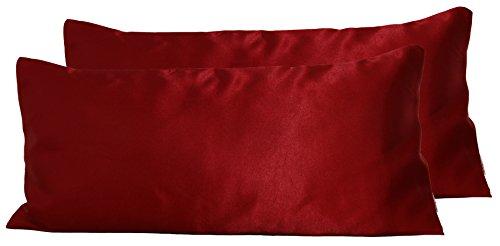 beties Paket mit 2 x Glanz Satin Kissenbezug ca. 40x80 cm anschmiegsam & edel in 4 Größen Farbe (Karmin-Rot)