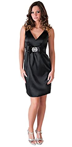 Faship Womens V-Neck W Crystal Brooch Cocktail Party Formal Dress